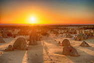 Sunset at the Pinnacles in Nambung National Park of Western Australia