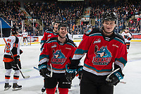 KELOWNA, BC - NOVEMBER 8:  Kaedan Korczak #6 and Liam Kindree #26 of the Kelowna Rockets skate to the bench to celebrate a first period goal against the Medicine Hat Tigers at Prospera Place on November 8, 2019 in Kelowna, Canada. (Photo by Marissa Baecker/Shoot the Breeze)