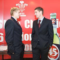 CARDIFF, WALES - Tuesday, October 7, 2008: Wales' David Edwards and Sam Vokes at the Brains Beer Wales Football Awards at the Millennium Stadium. (Photo by David Rawcliffe/Propaganda)