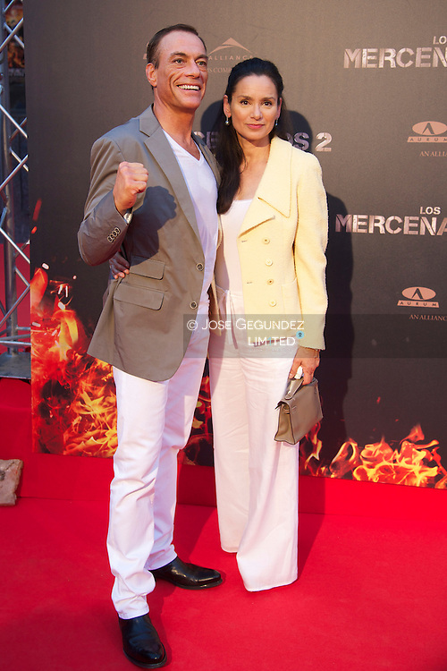 Belgian actor Jean-Claude Van Damme and wife Gladys Portugues attend 'The Expendables 2' premiere at Callao Cinema in Madrid