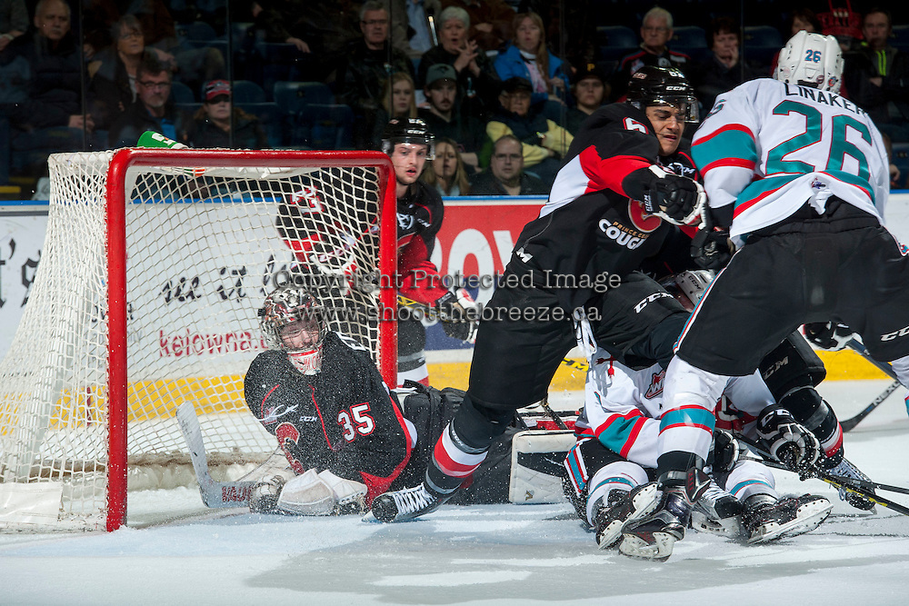 KELOWNA, CANADA - MARCH 9: Ty Edmonds #35 of Prince George Cougars defends the net against the Kelowna Rockets on March 9, 2016 at Prospera Place in Kelowna, British Columbia, Canada.  (Photo by Marissa Baecker/Shoot the Breeze)  *** Local Caption *** Ty Edmonds;