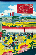 Japanes print Circa 1900 depicting Europeans visiting Japan. Railway train is seen the background.