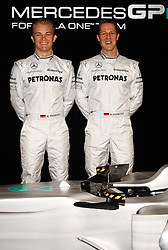 STUTTGART, GERMANY - Monday, January 25, 2010: Drivers Michael Schumacher and Nico Rosberg pose during the Mercedes GP Petronas Formula One Team presentation at the Mercedes-Benz Museum. (Pic by Juergen Tap/Hoch Zwei/Propaganda)