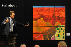 © Licensed to London News Pictures. 05/10/2017. London, UK.  '15 Canvas Study Of The Grand Canyon', 1998, by David Hockney sold for a hammer price of GB5,200k (Est. GBP3,800-5,000k) at the Italian and Contemporary Art evening auction at Sotheby's, New Bond Street, coinciding with the opening of the London's Frieze Art Fair. Photo credit : Stephen Chung/LNP