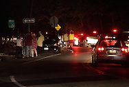 Middletown, New York - Cars and pedestrians leave Fancher-Davidge Park after a fireworks display by the lake at Fancher-Davidge Park at the conclusion of aStars and Stripes celebration on July 2, 2011.