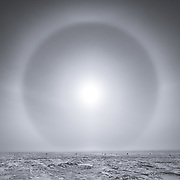 Sun halo caused by ice crystals in the atmosphere at the South Pole
