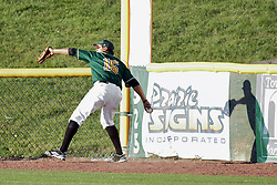 08 July 2017: Jesus Salarzano during a Frontier League Baseball game between the Traverse City Beach Bums and the Normal CornBelters at Corn Crib Stadium on the campus of Heartland Community College in Normal Illinois