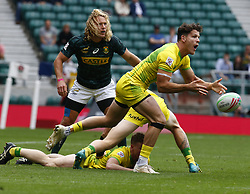 May 26, 2019 - Twickenham, England, United Kingdom - Simon Kennewell of Australia.during The HSBC World Rugby Sevens Series 2019 London 7s Cup Quarter Final Match 29 between South Africa and Australia at Twickenham on 26 May 2019. (Credit Image: © Action Foto Sport/NurPhoto via ZUMA Press)