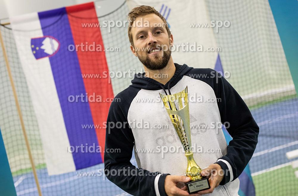 Winner Tom Kocevar Desman at trophy ceremony after final match during Slovenian National Tennis Championship 2019, on December 21, 2019 in Medvode, Slovenia. Photo by Vid Ponikvar/ Sportida