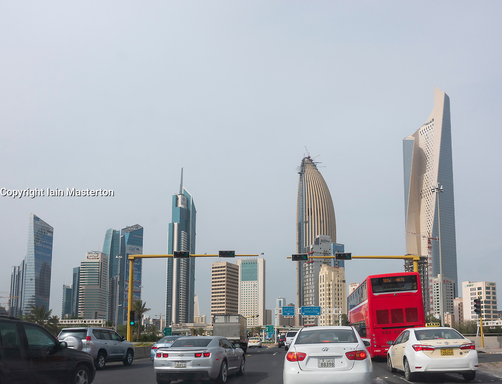 View of congested traffic and skyline of downtown Kuwait City in Kuwait.