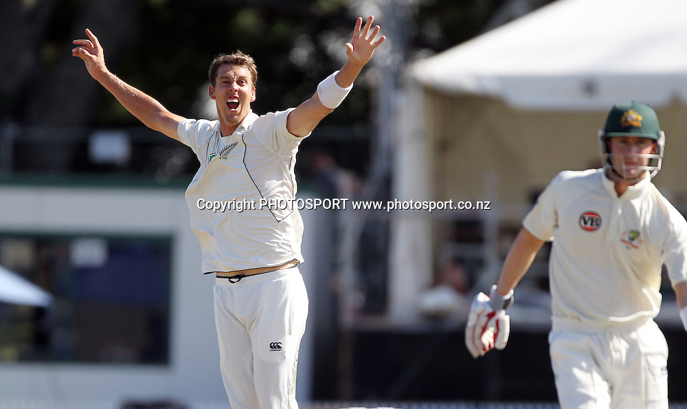 New Zealand bowler Brent Arnel celebrates the dismissal of  Australia's vice captain Michael Clarke.<br />Test Match Cricket. 2nd test. Day 4.<br />New Zealand Black Caps versus Australia. Seddon Park, Hamilton, New Zealand. Tuesday 30 March 2010. <br />Photo: Andrew Cornaga/PHOTOSPORT