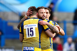 Francois Hougaard of Worcester Warriors congratulates Josh Adams on his try - Mandatory by-line: Dougie Allward/JMP - 04/02/2017 - RUGBY - BT Sport Cardiff Arms Park - Cardiff, Wales - Cardiff Blues v Worcester Warriors - Anglo Welsh Cup
