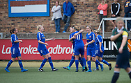 Danni McGinleyis congratulated after scoring the opener - Forfar Farmington v Edinburgh University Hutchison Vale in SWPL2 at Station Park Forfar - picture by David Young<br /> <br />  - &copy; David Young - www.davidyoungphoto.co.uk - email: davidyoungphoto@gmail.com