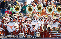 Nov 14, 2015; Morgantown, WV, USA; The Texas Longhorns band performs during a timeout against the West Virginia Mountaineers at Milan Puskar Stadium. Mandatory Credit: Ben Queen-USA TODAY Sports