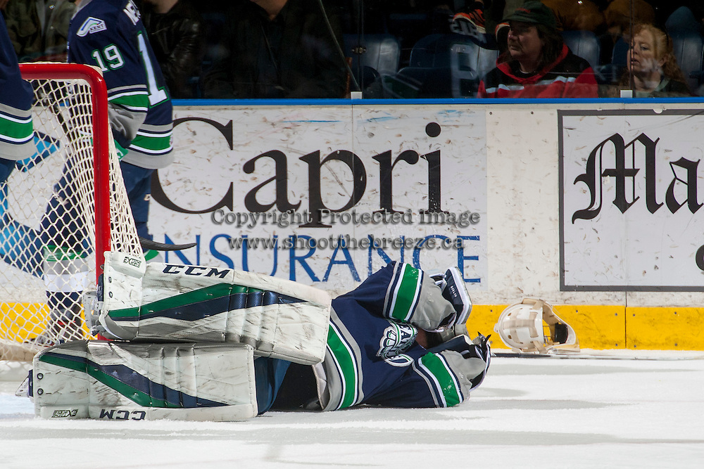 KELOWNA, CANADA - FEBRUARY 13: Matt Berlin #29 of the Seattle Thunderbirds lies on the ice after colliding with a Kelowna Rockets player on February 13, 2017 at Prospera Place in Kelowna, British Columbia, Canada.  (Photo by Marissa Baecker/Shoot the Breeze)  *** Local Caption ***
