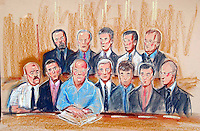 COPYRIGHT PRISCILLA COLEMAN ITV ARTIST 14.07.03..PICTURE SHOWS: THE DEFENDANTS IN THE HADFIELD RAIL DISASTER CASE AT CENTRAL HERTFORDSHIRE COURT TODAY. THEY ALL WORK FOR BALFOUR BEATTY AND RAILTRACK. THEY ARE FACING CHARGES OF MANSLAUGHTER AND HEALTH AND SAFETY BREACHES.