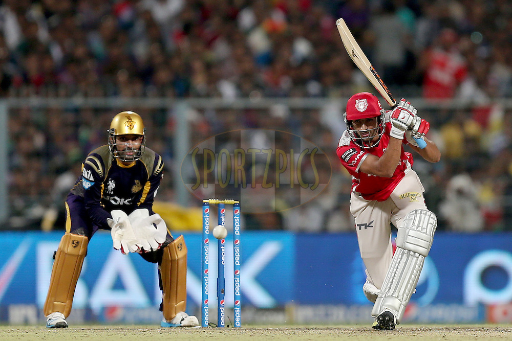 Karanveer Singh during the first qualifier match (QF1) of the Pepsi Indian Premier League Season VII 2014 between the Kings XI Punjab and the Kolkata Knight Riders held at Eden Gardens Cricket Stadium, Kolkata, India on the 28th May 2014. Photo by Jacques Rossouw / IPL / SPORTZPICS<br /> <br /> <br /> <br /> Image use subject to terms and conditions which can be found here:  http://sportzpics.photoshelter.com/gallery/Pepsi-IPL-Image-terms-and-conditions/G00004VW1IVJ.gB0/C0000TScjhBM6ikg