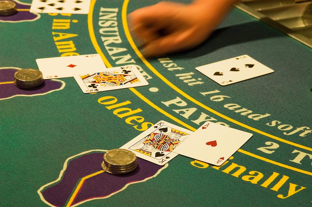 Blackjack table at Cal-Neva Lodge casino, Lake Tahoe, on California-Nevada stateline.