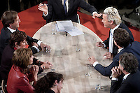 Nederland. Den Haag, 4 juni 2009.<br /> Europese Verkiezingen UItslagenavond. Fractievoorzitters uit de Tweede Kamer in het Atrium bij een afsluitend debat. Wilders in een fel debat met Pechtold<br /> Foto Martijn Beekman<br /> NIET VOOR PUBLIKATIE IN LANDELIJKE DAGBLADEN.