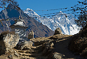 "Near Khumjung, in Sagarmatha National Park, Nepal: Mount Everest (29,035 feet / 8850 meters elevation above sea level), the highest mountain on Earth, was first called Chomolungma or Qomolangma (""Goddess Mother of the Earth"" in Tibetan). In 1865, Andrew Waugh, the British surveyor-general of India named the mountain for his chief and predecessor, Colonel Sir George Everest. In the 1960s, the Government of Nepal named the mountain Sagarmatha, meaning ""Goddess of the Sky"". The mountain, which is part of the Himalaya range in High Asia, is located on the border between Nepal and Tibet, China. Sagarmatha National Park was created in 1976 and honored as a UNESCO World Heritage Site in 1979."