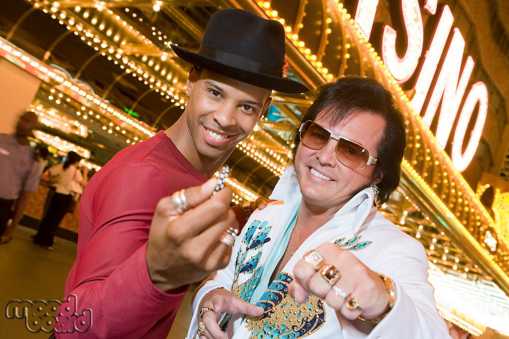 Portrait of man and Elvis impersonator