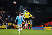 Burton Albion defender Tom Flanagan (2) and Watford striker Troy Deeney (9) during the The FA Cup 3rd round match between Watford and Burton Albion at Vicarage Road, Watford, England on 7 January 2017. Photo by Richard Holmes.