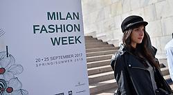 Milan Fashion Week, bloggers , Web Editor, influencer at Grinko fashion show, in Duomo square. 21 Sep 2017 Pictured: Milan Fashion Week, bloggers , Web Editor, influencer. Photo credit: Fotogramma / MEGA TheMegaAgency.com +1 888 505 6342