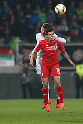 18.02.2016, WWKArena, Augsburg, GER, UEFA EL, FC Augsburg vs FC Liverpool, Sechzehntelfinale, Hinspiel, im Bild Paul Verhaegh ( FC Augsburg ) Coutinho ( FC Liverpool ) // during the UEFA Europa League Round of 32, 1st Leg match between FC Augsburg and FC Liverpool at the WWKArena in Augsburg, Germany on 2016/02/18. EXPA Pictures © 2016, PhotoCredit: EXPA/ Eibner-Pressefoto/ Langer<br /> <br /> *****ATTENTION - OUT of GER*****