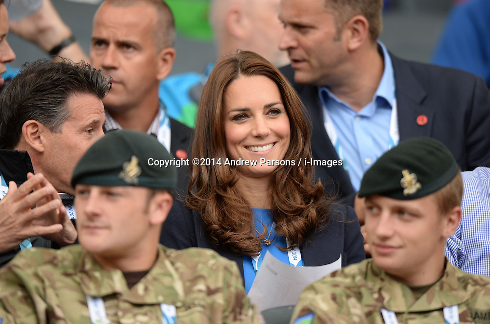 Image licensed to i-Images Picture Agency. 29/07/2014. Glasgow, United Kingdom. The Duchess of Cambridge  watching the Athletics, Hampden Park, Glasgow on day six of the Commonwealth Games.  Picture by Andrew Parsons / i-Images