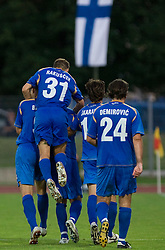 Team of Gorica celebrates at 1st football match of 2nd preliminary Round of UEFA Europe League between ND Gorica and FC Lahti, on July 16 2009, in Nova Gorica, Slovenia. (Photo by Vid Ponikvar / Sportida)