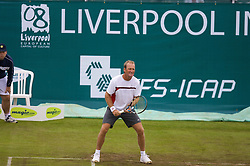 Liverpool, England - Saturday, June 16, 2007: Peter McNamara in action during Legends Doubles on day five of the Liverpool International Tennis Tournament at Calderstones Park. For more information visit www.liverpooltennis.co.uk. (Pic by David Rawcliffe/Propaganda)