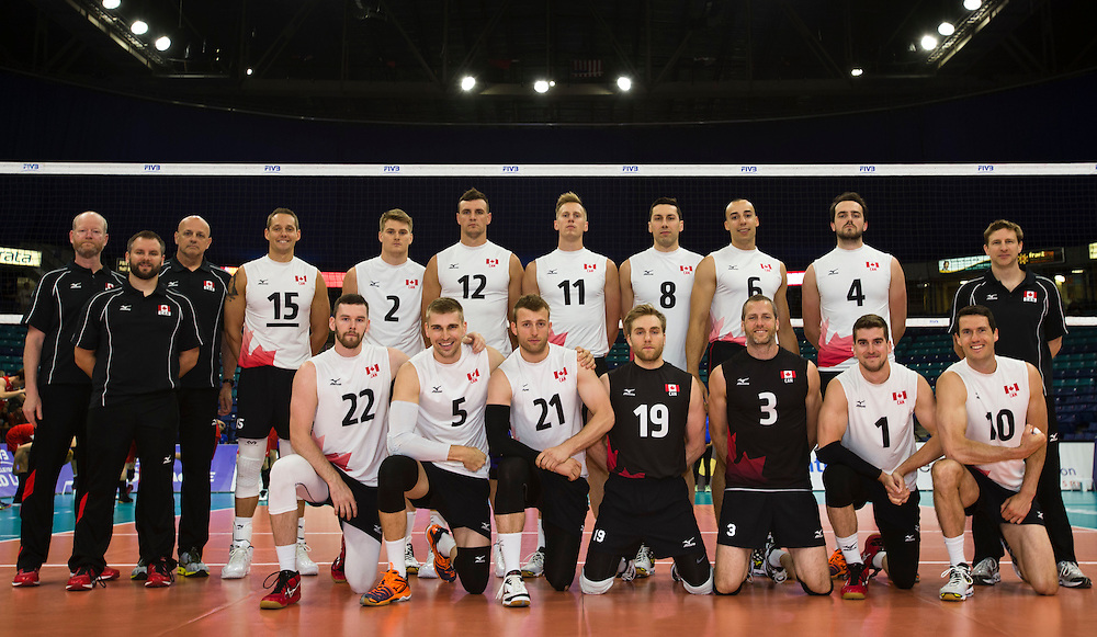 Canada poses for a team photo prior to a World League Volleyball match versus Korea at the Sasktel Centre in Saskatoon, Saskatchewan Canada on June 24, 2016.