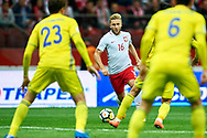 Warsaw, Poland - 2017 September 04: (C) Jakub Blaszczykowski from Poland fights for the ball during soccer match Poland v Kazakhstan - FIFA 2018 World Cup Qualifier at PGE National Stadium on September 04, 2017 in Warsaw, Poland.<br /> <br /> Adam Nurkiewicz declares that he has no rights to the image of people at the photographs of his authorship.<br /> <br /> Picture also available in RAW (NEF) or TIFF format on special request.<br /> <br /> Any editorial, commercial or promotional use requires written permission from the author of image.<br /> <br /> Mandatory credit:<br /> Photo by © Adam Nurkiewicz / Mediasport