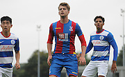 Patrick Bamford watched the flight of the incomming ball during the U21 Professional Development League match between U21 QPR and U21 Crystal Palace at the Loftus Road Stadium, London, England on 31 August 2015. Photo by Michael Hulf.