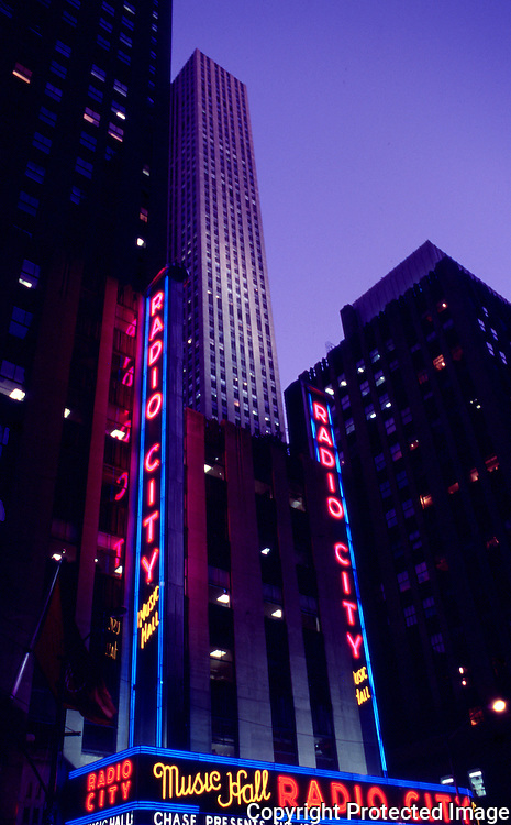 View of Rockefeller Center's Radio City Music Hall in the evening