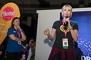 21st International AIDS Conference (AIDS 2016), Durban, South Africa.<br /> Photo shows Deborah Birx, The U.S. President's Emergency Plan for AIDS Relief (PEPFAR), United States, and actress<br /> Charlize Theron, from the Charlize Theron Africa Outreach Project, United States, in the Global Village. <br /> Photo&copy;International AIDS Society/Steve Forrest/Workers' Photos