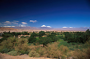 Oasis town of San Pedro de Atacama, Chile. The snow capped volcanoes of the Andes are in the background on the border with Bolivia.