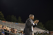 President Roderick McDavis cheers for the Marching 110 at Peden Stadium on Thursday, October 8, 2015. Photo by Kaitlin Owens
