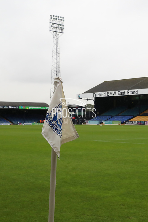 Roots Hall corner flag during the EFL Sky Bet League 1 match between Southend United and AFC Wimbledon at Roots Hall, Southend, England on 12 October 2019.