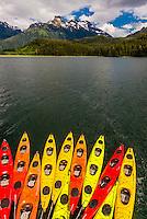 Sea kayaks, Nakwasina Sound,  Inside Passage, Southeast Alaska USA.