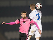 Scotland's Ryan Hardie and Estonia's Henrik Purg - Scotland under 21s v Estonia international challenge match at St Mirren Park, St Mirren. Pic David Young<br />  <br /> - © David Young - www.davidyoungphoto.co.uk - email: davidyoungphoto@gmail.com