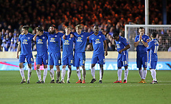 Peterborough United players stands dejected after Lee Angol misses the decisive penalty - Mandatory byline: Joe Dent/JMP - 10/02/2016 - FOOTBALL - ABAX Stadium - Peterborough, England - Peterborough United v West Brom - FA Cup Forth Round Replay