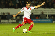 Sheffield United forward Billy Sharp strikes the ball during the Sky Bet League 1 match between Burton Albion and Sheffield Utd at the Pirelli Stadium, Burton upon Trent, England on 29 September 2015. Photo by Aaron Lupton.