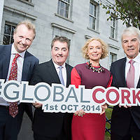 NO REPRO FEE <br /> 01.10.2014<br /> MC Matt  Cooper with Panel speakers Sean O'Driscoll (Chairman, Glen Dimplex plc), Anne O'Leary (Vodafone Ireland) &amp; Eoin O'Driscoll (Forf&aacute;s) pictured at the second annual Global Cork Economic Forum which took place on Wednesday, 1st October in City Hall, Cork. The main areas of discussion at this year&rsquo;s plenary business forum, where speakers from across the international tourism industry come together with business leaders from Cork business diaspora, were tourism and economic development for the Cork region. For more information see www.globalcorkeconomicforum.com. <br /> Picture: Emma Jervis