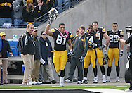 November 21, 2009: Iowa tight end Tony Moeaki (81) is introduced as part of senior day before the Iowa Hawkeyes 12-0 win over the Minnesota Golden Gophers at Kinnick Stadium in Iowa City, Iowa on November 21, 2009.