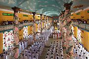 Tay Ninh, Cao Dai Great Temple (Thanh That Cao Dai). The daily noon prayer ceremony.