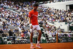 May 27, 2019 - Paris, France - Novak Djokovic during the singles first round match between Novak Djokovic and Hubert Hurkacz of Poland during Day two of the 2019 French Open at Roland Garros on May 27, 2019 in Paris, France. (Credit Image: © Ibrahim Ezzat/NurPhoto via ZUMA Press)