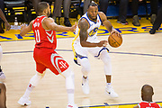 Golden State Warriors forward Andre Iguodala (9) drives to the basket against the Houston Rockets during Game 3 of the Western Conference Finals at Oracle Arena in Oakland, Calif., on May 20, 2018. (Stan Olszewski/Special to S.F. Examiner)