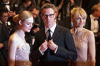 Actress Elle Fanning, director Nicolas Winding Refn and Liv Corfixen at the gala screening for the film The Neon Demon at the 69th Cannes Film Festival, Friday 20th May 2016, Cannes, France. Photography: Doreen Kennedy