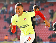 Charlton Athletic midfielder Jordan Cousins (8) warming up during the Sky Bet Championship match between Charlton Athletic and Middlesbrough at The Valley, London, England on 13 March 2016. Photo by Andy Walter.